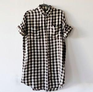 Madewell checkered button up dress